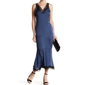Dress Forum Lace Trimmed Maxi Dress in Navy M NEW